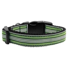Preppy Stripes Nylon Ribbon Collars Green-white Large-Mirage Pet Products-DirtyFurClothing