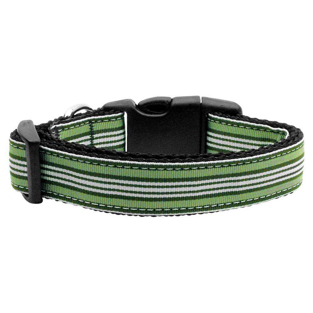 Preppy Stripes Nylon Ribbon Collars Green-white Xs-Mirage Pet Products-DirtyFurClothing