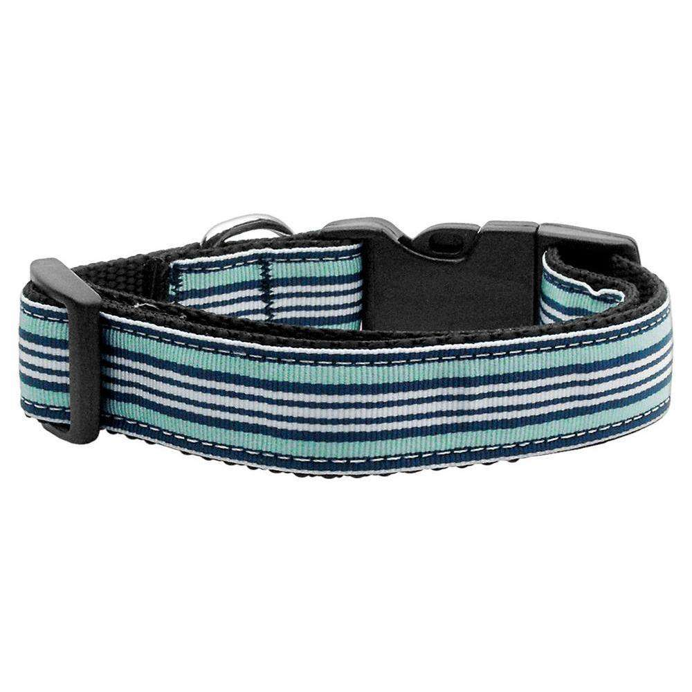Preppy Stripes Nylon Ribbon Collars Light Blue-white Sm-Mirage Pet Products-DirtyFurClothing