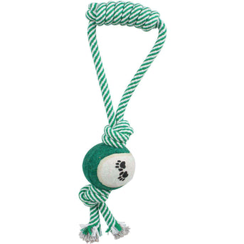 Pull Away' Rope And Tennis Ball- Green-Pet Life-DirtyFurClothing
