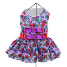 Purple And Red Floral Dress With Matching Leash-DirtyFurClothing-DirtyFurClothing