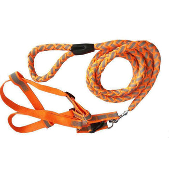 Reflective Stitched Easy Tension Adjustable 2-In-1 Dog Leash And Harness-Pet Life-DirtyFurClothing