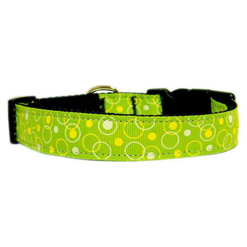 Retro Nylon Ribbon Collar Lime Green Sm-Mirage Pet Products-DirtyFurClothing