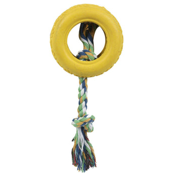 Rubberized Pet Chew Rope And Tire- Yellow-Pet Life-DirtyFurClothing