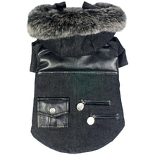 Ruff-Choppered Denim Fashioned Wool Pet Coat - Black-Pet Life-DirtyFurClothing