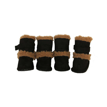 Shearling Duggz Pet Shoes - Black & Brown-Pet Life-DirtyFurClothing