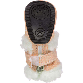 Shearling Duggz Pet Shoes - Brown & White-Pet Life-DirtyFurClothing