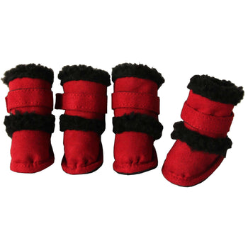 Shearling Duggz Pet Shoes - Red & Black-Pet Life-DirtyFurClothing
