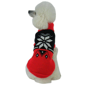 Snow Flake Cable-Knit Fashion Turtle Neck Dog Sweater-Pet Life-DirtyFurClothing