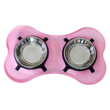 Spill Proof Pet Double Diner Pink Dog Bowl Stainless Steel By Bella N Chaser-Bella N Chaser-DirtyFurClothing