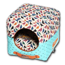 Touchdog Chirpin-Avery Convertible And Reversible Squared 2-In-1 Collapsible Dog House Bed-Touchdog-DirtyFurClothing