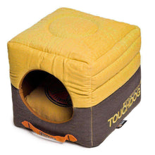 Touchdog Convertible And Reversible Vintage Printed Squared 2-In-1 Collapsible Dog House Bed-Touchdog-DirtyFurClothing