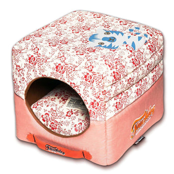 Touchdog Floral-Galore Convertible And Reversible Squared 2-In-1 Collapsible Dog House Bed-Touchdog-DirtyFurClothing