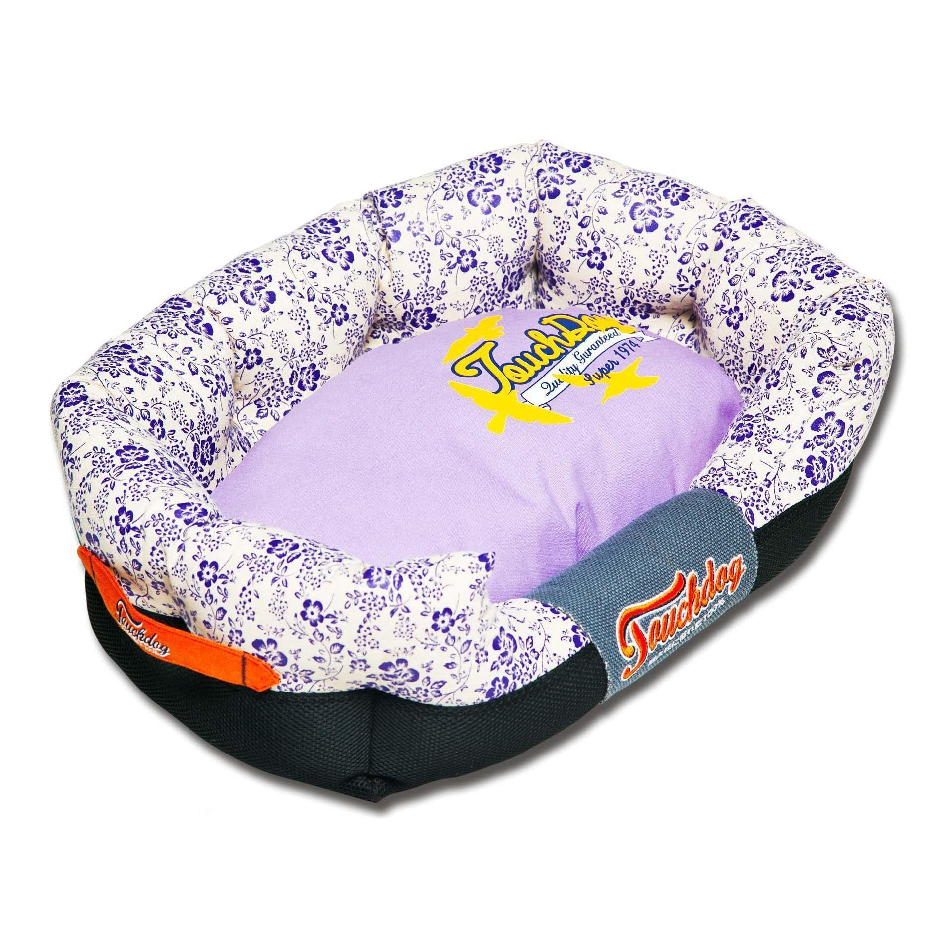 Touchdog Floral-Galore Ultra-Plush Rectangular Rounded Designer Dog Bed-Touchdog-DirtyFurClothing