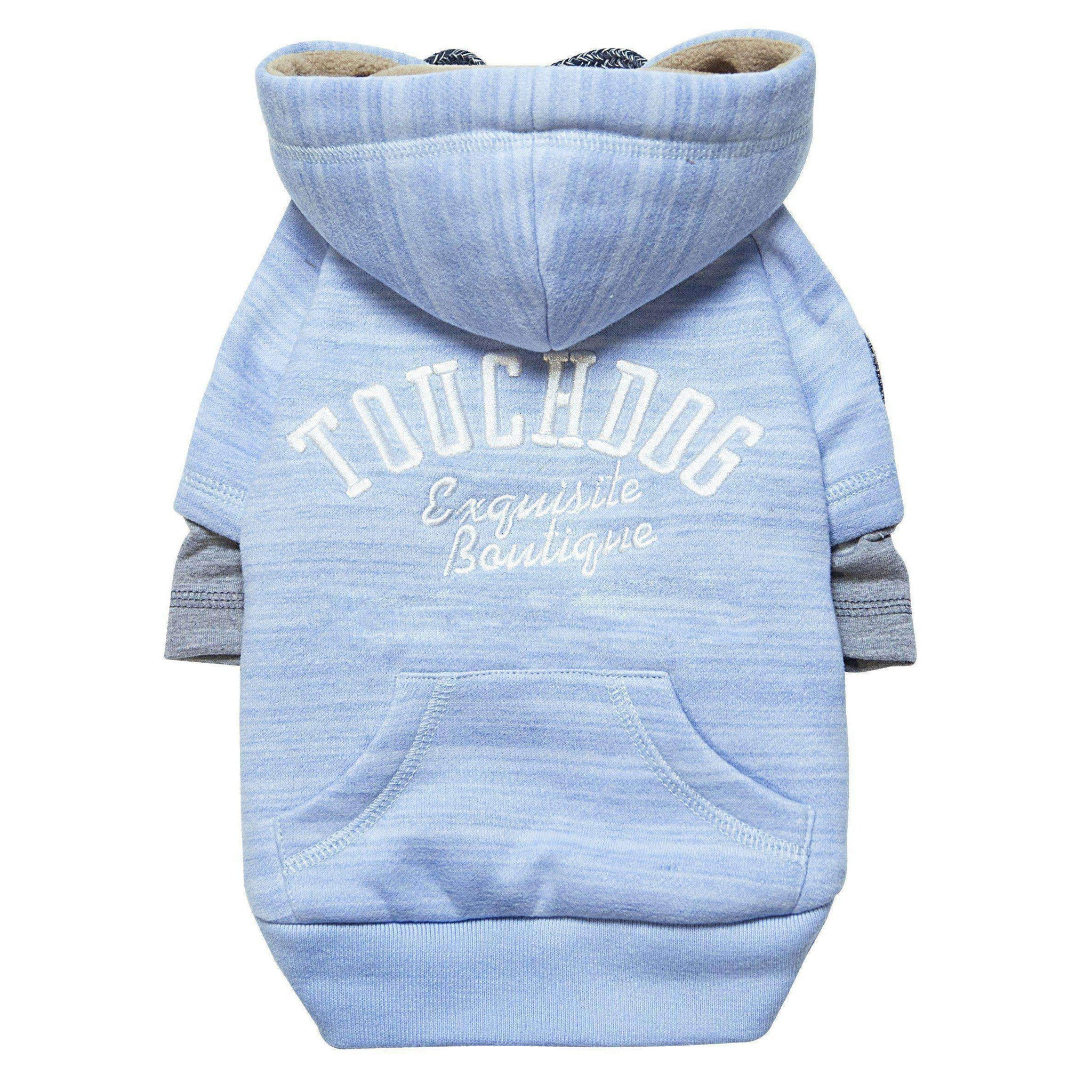 Touchdog Hampton Beach Designer Ultra Soft Sand-Blasted Cotton Pet Dog Hoodie Sweater - Blue-Touchdog-DirtyFurClothing