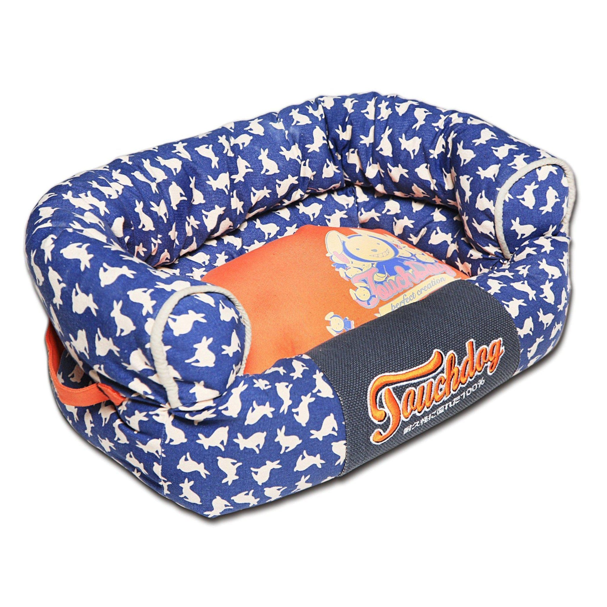 Touchdog Lazy-Bones Rabbit-Spotted Premium Easy Wash Couch Dog Bed-Touchdog-DirtyFurClothing