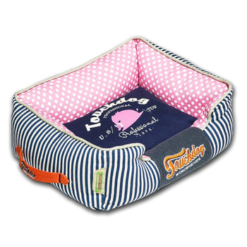 Touchdog Polka-Striped Polo Easy Wash Rectangular Fashion Dog Bed-Touchdog-DirtyFurClothing
