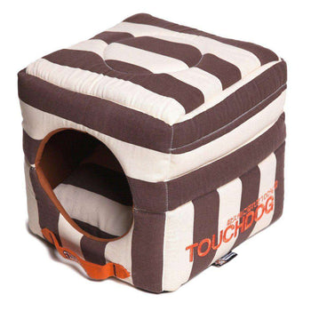 Touchdog Polo-striped Convertible And Reversible Squared 2-in-1 Collapsible Dog House Bed-Touchdog-DirtyFurClothing