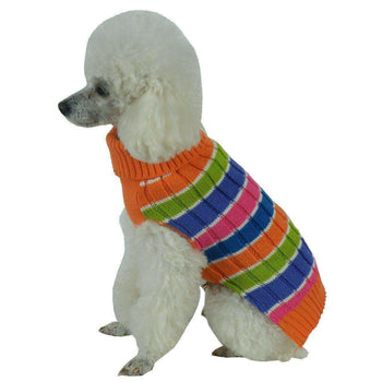 Tutti-Beauty Rainbow Heavy Cable Knitted Designer Turtle Neck Dog Sweater-Pet Life-DirtyFurClothing