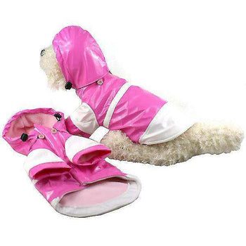 Two-Tone Pvc Waterproof Adjustable Pet Raincoat - Pink & White-Pet Life-DirtyFurClothing