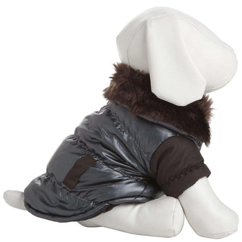 Ultra Fur 'Track-Collared' Metallic Pet Jacket- Metallic Brown-Pet Life-DirtyFurClothing