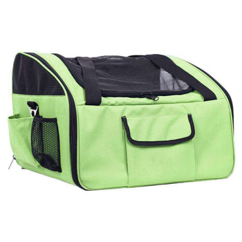 Ultra-lock' Collapsible Safety Travel Wire Folding Pet Car Seat Carrier - Olive Green-Pet Life-DirtyFurClothing