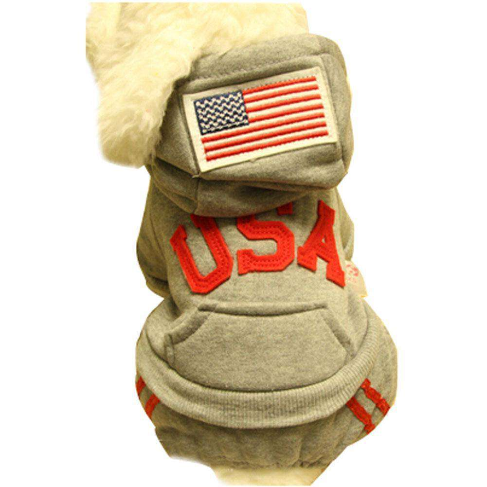 Warmth Pet Dog Clothes Winter Hoodie Fashion Pet Dog Clothing USA Design - Gray-Blancho-DirtyFurClothing