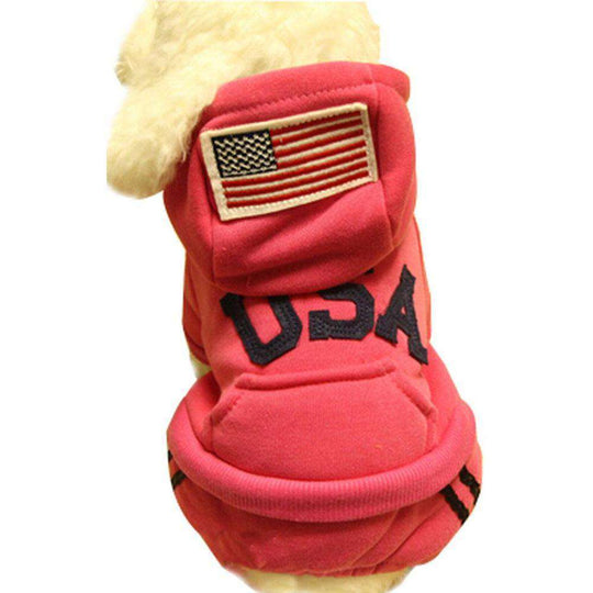 Warmth Pet Dog Clothes Winter Hoodie Fashion Pet Dog Clothing USA Design - Red-Blancho-DirtyFurClothing