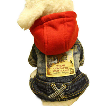 Warmth Pet Dog Clothes Winter Hoodie Jeans Wear With Red Hood-Blancho-DirtyFurClothing