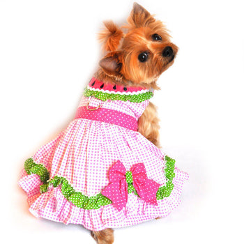 Watermelon Dog Dress With Pink Polka Dot Bow-DirtyFurClothing-DirtyFurClothing
