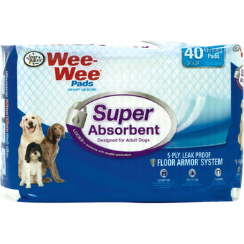 Wee Wee Super Absorbent Pads 40 Pk-Four Paws-DirtyFurClothing