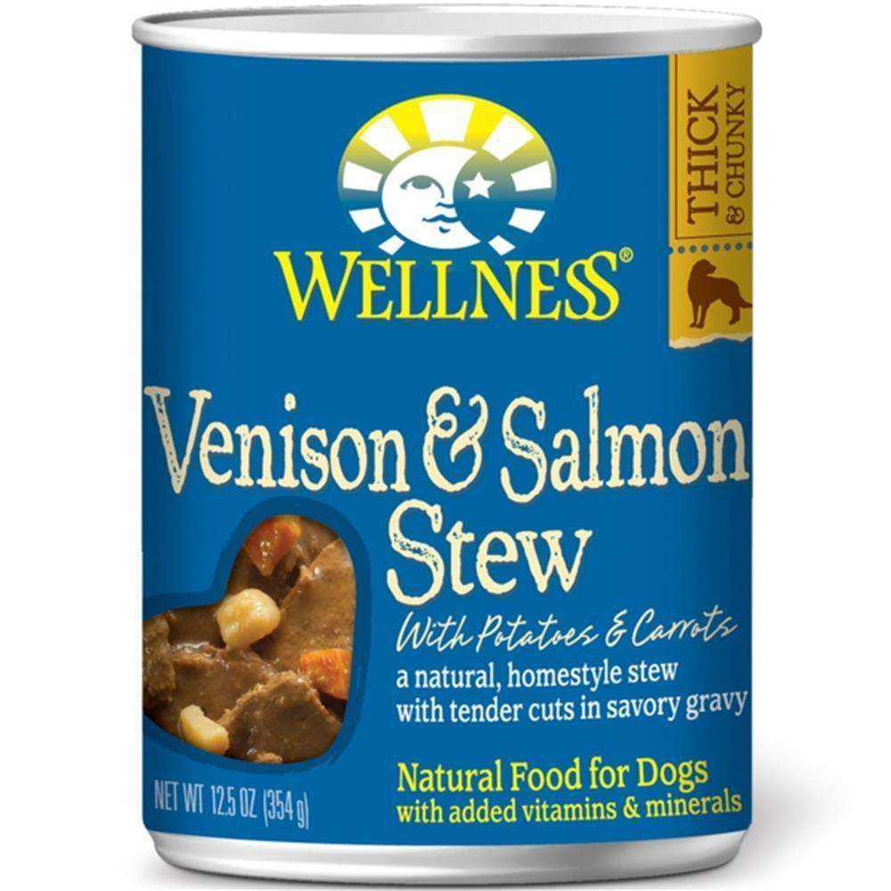 Wellness Pet Products - Venison & Salmon Stew With Potatoes & Carrots Canned Dog Food ( 12 - 12.5 Oz Cans)-Wellness Pet Products-DirtyFurClothing