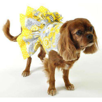 Yellow Dog Dress With Dog Harness-Spocket-DirtyFurClothing