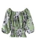 OFF SHOULDER Aaliyah Floral Ballon Sleeves Blouse - Mishon's Galleria