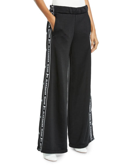 T by ALEXANDER WANG Sleek Wide-Leg Logo Snap-Up French Terry Pants - Mishon's Galleria