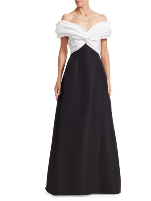DESIGNER CAROLINA HERRERA Off-The-Shoulder Two-Tone Evening Gown - Mishon's Galleria