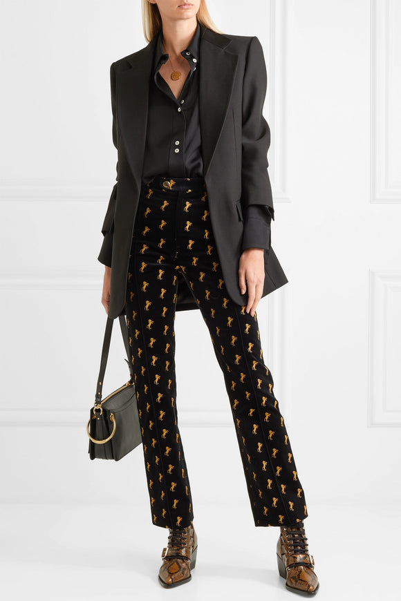 CHLOE' EMBROIDERED VELVET PANTS - Mishon's Galleria