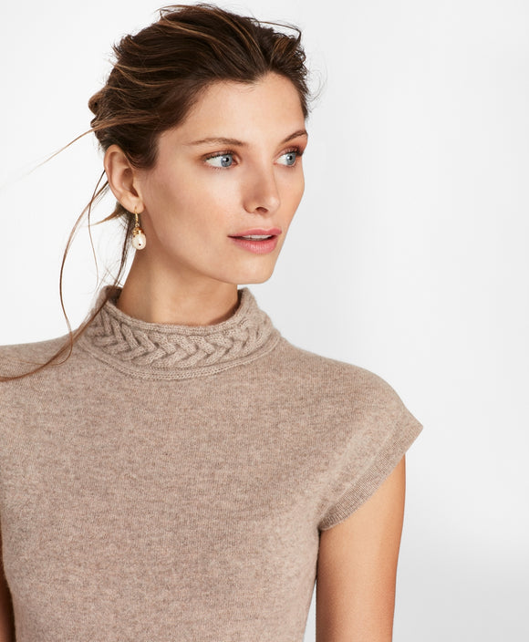 CASHMERE Braided Mockneck Shell by Creative Director ZAC POSEN - Mishon's Galleria