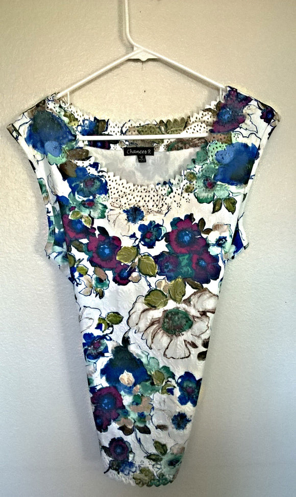 CHANCES R NEW Women's Floral Sleeveless Top ZigZag Edges - M - Mishon's Galleria