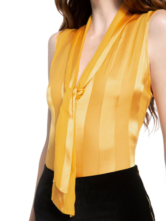 GWENDA Paneled Tie Neck Blouse - Mishon's Galleria