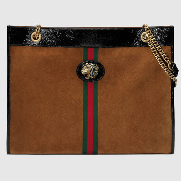 GUCCI BROWN SUEDE Large TOTE with Tiger Head - Mishon's Galleria
