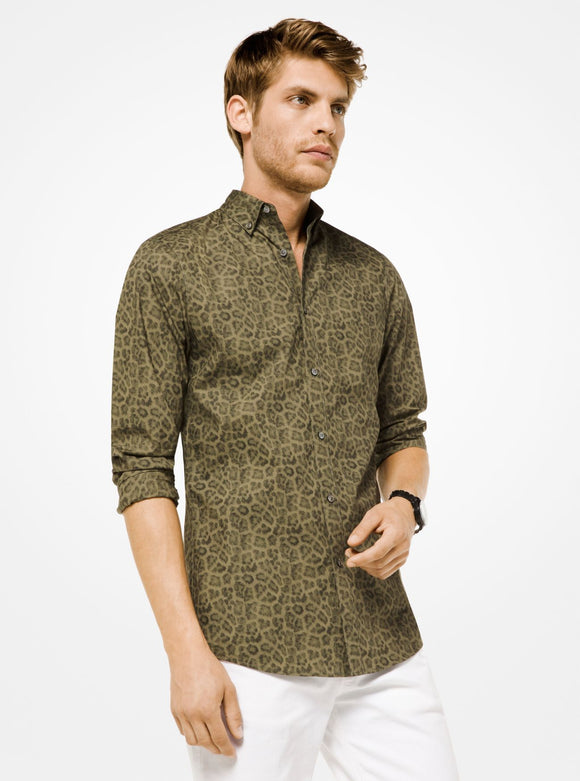 MICHAEL KORS MENS Slim-Fit Leopard Cotton Shirt - Mishon's Galleria