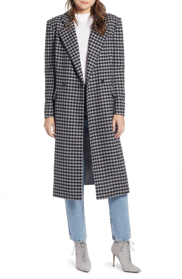 DOUBLE BREASTED SOMETHING NAVY Longline Checkered Coat - Mishon's Galleria