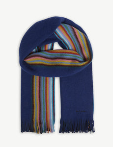 PAUL SMITH MEN'S ACCESSORIES Half stripped Merino Wool scarf - Mishon's Galleria