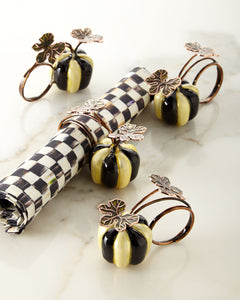 MacKenzie-Childs Fall Harvest Courtly Stripe Pumpkin Napkin Rings - Mishon's Galleria