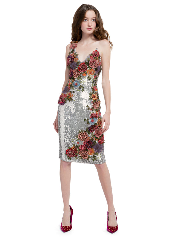 FRANCIE HAND-BEADED SEQUIN FITTED COCKTAIL DRESS - Mishon's Galleria