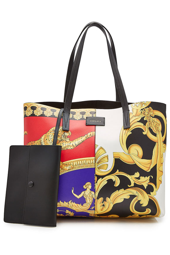 VERSACE Pillow Talk-Barocco Mix Print Leather Tote - Mishon's Galleria