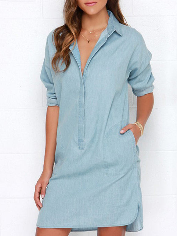 SHAWL COLLAR Light Blue Shift Daily Casual Long Sleeve Pockets Dress - Mishon's Galleria
