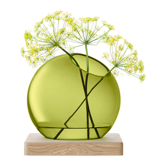 AXIS VASE & Ash Base - Olive Green Large - Mishon's Galleria