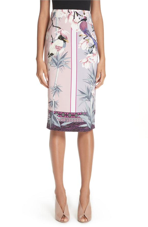 VERSACE BIRD PRINT Pencil Skirt - Mishon's Galleria